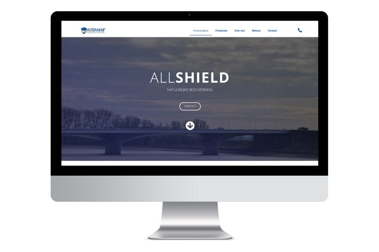 Allshield website ontwerp Origin Media